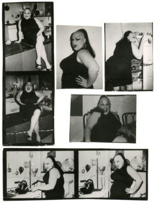 A group of 7 b/w contact sheet photographs of Divine by Billy Maynard, c.1973 + photos of Mario...