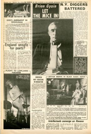 """""""Sex Money and Action in a Supplementary Society"""" (2pp.), with photo-illustrations by Gianfranco Mantegna, in INTERNATIONAL TIMES #22 (London: December 15, 1967)."""