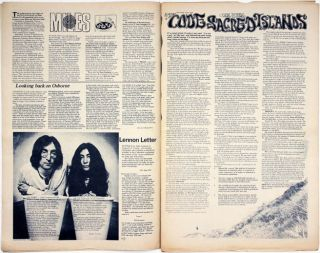 """""""Paradise Now"""" by Julian Beck, a two-colour centrespread with illustrations by John Hurford, in IT #35 (London: July 12-25, 1968)."""