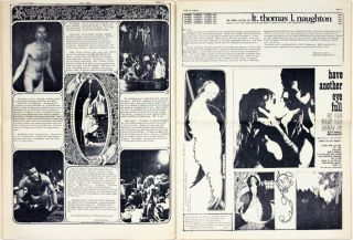 """""""The Living Theatre is Good Dope"""", a 1pp. photo-illustrated feature by Abe Peck on The Living Theatre's return to America """"after fifty-odd months of self-imposed exile"""", in THE CHICAGO SEED Vol. 3, #6 (no date, c. February 1969)."""