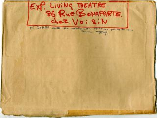 A group of items by members of The Living Theatre, originally sent from Grenoble to Jack Henry Moore at the Arts Lab in advance of their visit to London in June 1969.