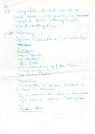 A small group of documents relating to The Living Theatre's visit to London and their series of performances at the Roundhouse, c. May 1969.