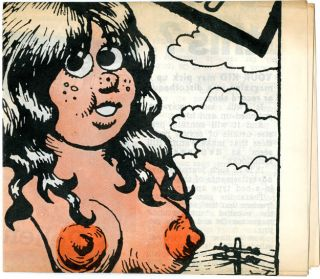 Original collage, untitled, c.1969 + Roundhouse flyer + Oz #24 with Robert Crumb poster.
