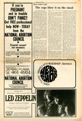 Full-page ad. announcing a benefit event for The Living Theatre at the Ash Grove (on Melrose), August 24-29 in LOS ANGELES FREE PRESS #370 (August 20, 1971).