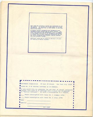 RADICAL SOFTWARE #1 (NY: Raindance Corporation, second print run [September 1970], with new editorial address, issue number printed on the front, and variant text and design to back cover; all other contents identical to first printing).